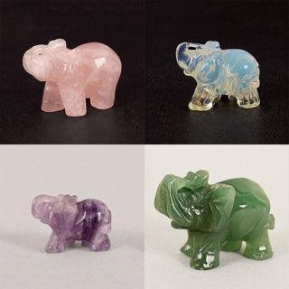"1.5"" Quartz Lucky Crystal Elephant Carved Figurine Chakra Reiki Stone Feng Shui"