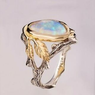 Vintage 925 Silver Ring Woman Man White Fire Opal Sapphire Wedding Engagement