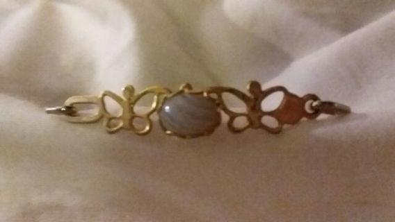 Gold colored girls butterfly bracelet
