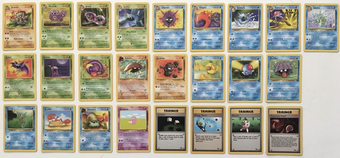 Pokemon Fossil Set Non-Holo Uncommons and Commons Trading Cards Lot of 25