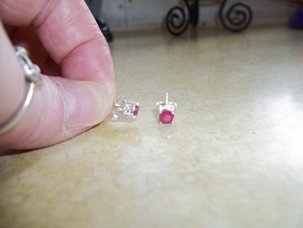 Sterling Silver 925 (genuine) Ruby Earrings