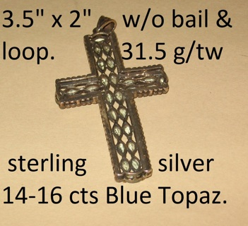 vintage sterling topaz cross