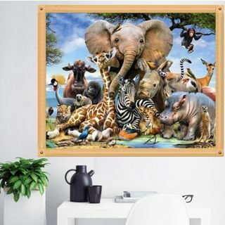 Modern Animal World 5D DIY Embroidery Diamond Painting Cross Stitch Home Decor