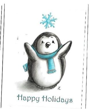 Christmas Card Unused With Envelope Penguin