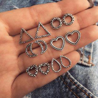 5 Pairs/set Women Fashion Punk Hollow Heart Drops Moon Triangle Geometric Silver Earrings Set Party
