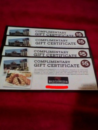 $20 in Red Lobster Gift Certificates--GIN Gets $40--Free shipping w