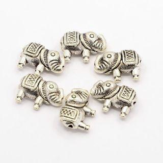 20PCs Antique Silver Tibetan Style Alloy Elephant Beads 8.5x12x4mm