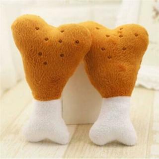 Pet Puppy Dog Cat Chicken Leg Bone Chew Squeaker Squeaky Toy Cute SL