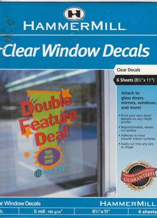 Hammermill clear window decals print your own 2 sheets in package