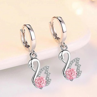 Pink blue white crystal zircon long tassel retro swan earrings