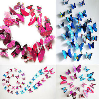 Beauty 12X 3D Butterfly Magnet Sticker Art Design Decal Wall Stickers Home Decor