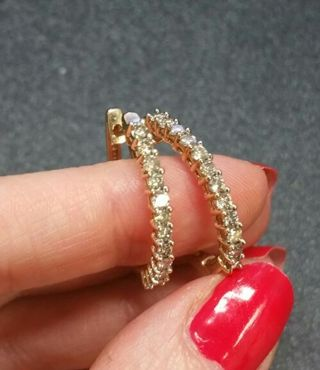 10k real Gold Real 1.00ct Diamond Hoops
