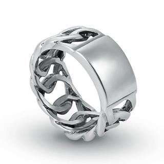 316L Stainless Steel Silver Fashion Men's Cool Charm Chain finger Ring Size 6-12