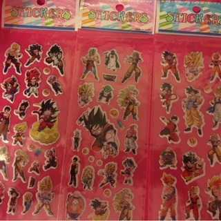 3 sheets Dragon Ball, Dbz, and Dbs puffy stickers