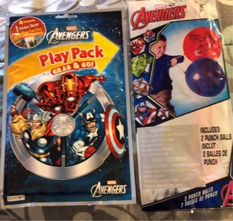 """BNIP: """"AVENGERS"""" Set: Play Pack w/Markers, Coloring Book Stickers! And 2 Jumbo Punch Balls"""