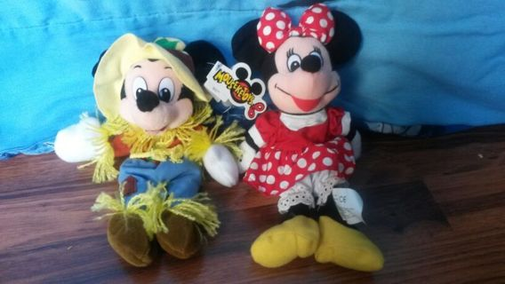 "MICKEY and MINNIE mouse 9"" halloween beanies DISNEY"