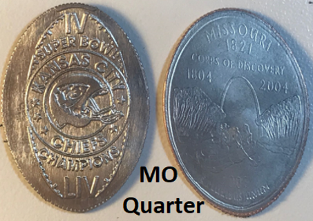 NEW!!! KANSAS CITY CHIEFS SUPERBOWL CHAMPIONS IV & LIV Elongated Cent for on MO QUARTER (NOT Penny)!