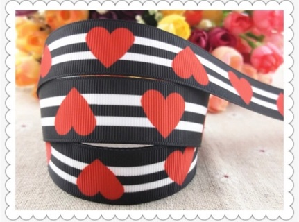 "Black and White Stripes with Red Hearts 7/8"" Grosgrain Ribbon 1 Yard NEW"