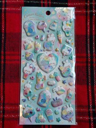 "Q-Lia ""Cotton Rabbit"" Iridescent, Puffy Sticker Sheet!! ☆Kawaii Bonus☆ Matched Memo Sheets"