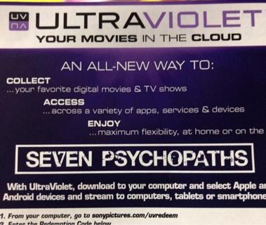 Seven Psychopaths UV digital copy