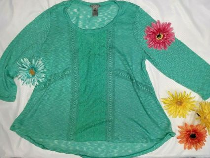Darling New Directions Plus Size Minty Lacey Tunic Shirt Top - Size XL