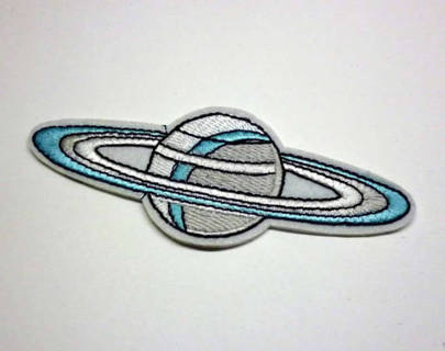 1 PLANET w/ RING IRON ON Patch Outer Space Galaxy Clothing Embroidery Applique Badge FREE SHIPPING