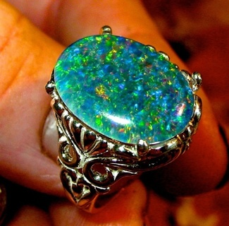925 Sterling Silver Plated Ring Oval Cut Blue/Green Fire Opal Ring Size 6