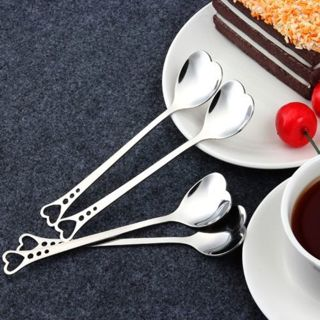 2PCs Stainless Steel Heart Shape Coffee Dessert Spoon Teaspoon Household Spoons