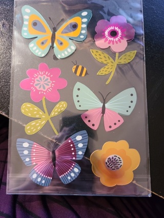 LARGE Shiney Butterfly & Flower Stickers
