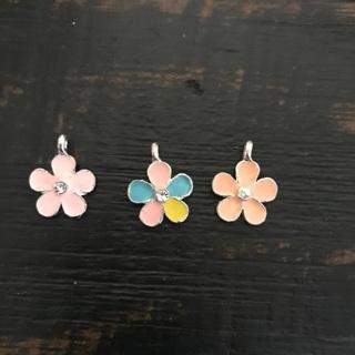 3 Bling Flower Pendant Charms