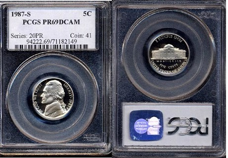 1987-S Proof Jefferson Nickel (PCGS PR69DCAM)