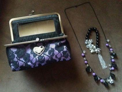 Anna Sui Lace Jewelry Trinket Box & Matching Necklace & Bracelet Lot