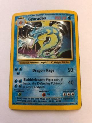 Pokemon Card Gyarados Holo Rare Base Set 6/102