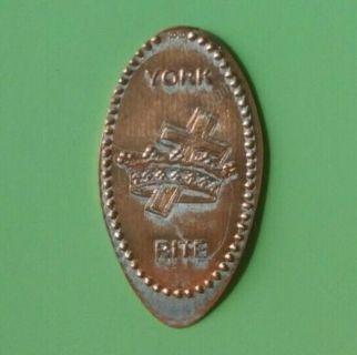 YORK RITE Masonic Mason Freemasonry Elongated Penny Pressed Cent Coin - Free Shipping