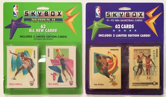 Skybox 1991-92 Series 1 and 2 NBA Basketball Cards - New Sealed Blister Packs - 62 Cards Each!
