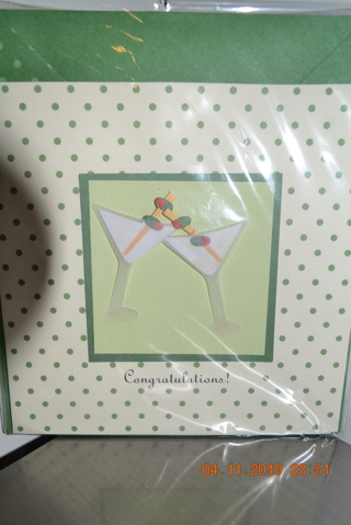 ****NIP 3D TWO MARTINI'S CONGRATULATIONS ON NEW BABY CARD W/ENVELOPE***FREE SHIPPING