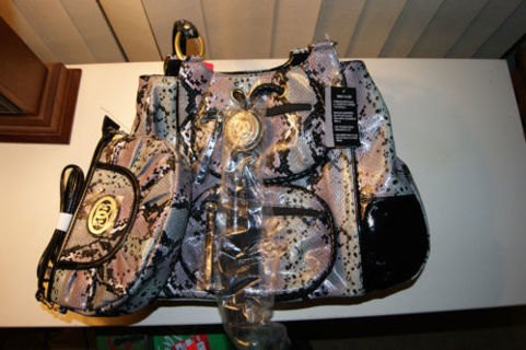 Free Sharif Snakeskin Handbag Gray Pink Black Patent Leather Trim