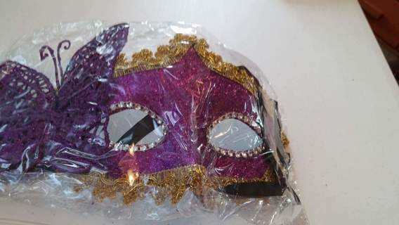 1 NEW BEAUTIFUL MARDI GRAS TYPE MASK WITH A BUTTERFLY ON THE SIDE, (your choice of color)
