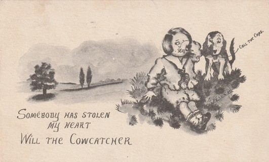 Vintage Used Postcard: Comic: 1912 Somebody Has Stolen My Heart
