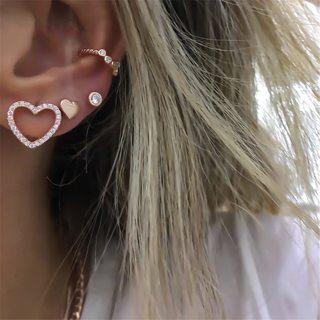 4 Pcs/set Women's Fashion Punk Heart Crystal Stars Exquisite Gold Earrings Set Charm Clothing