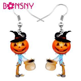 Bonsny Acrylic Halloween Anime Hat Pumpkin Boy Gift Bag Earrings Drop Dangle Festival Decorations