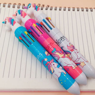 2Pcs Cartoon Silicone Unicorn Ballpoint Pen Stationery