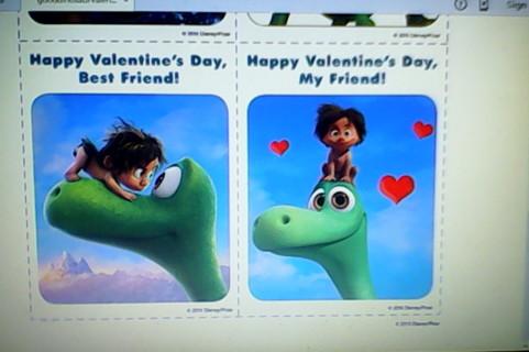 Disney PIXAR **The Good Dinosaur Valentines Cards**