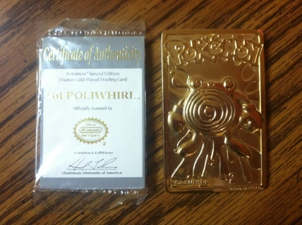 Free 23k Gold Plated Pokemon Card W Coa Trading