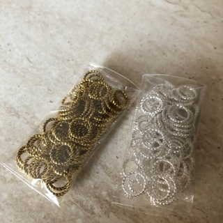 [GIN FOR FREE SHIPPING] 60Pcs Silver/Gold/Bronze/Copper Twist-Ring Charm Finding