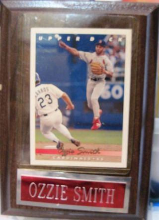 Vintage Upper Deck Card of Ozzie Smith on Plaque