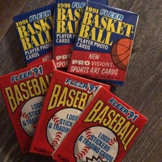 6 91' Fleer Baseball/Basketball Cards