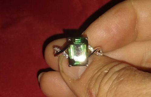 RING STERLING SILVER AND A REAL NATURAL GREEN TOURMALINE WITH CRYSTAL ACCENTS