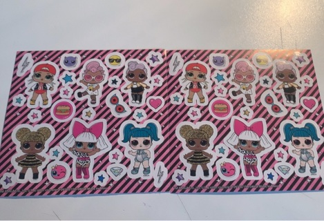 3 sheets of little girl stickers