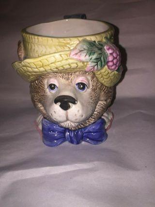 Vintage Fitz and Floyd 1991 3D Coffee Mug Cup Bear w Straw Hat Cute